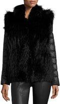 Gorski Fox Fur Jacket w/ Removable Down Sleeves, Black