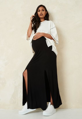 Missguided Black Split Front Maternity Maxi Skirt