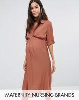 Mama Licious Mama.licious Short Sleeve Button Up Tea Dress With Collar