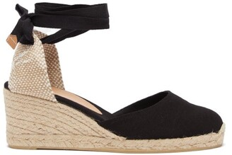 Castaner Carina 60 Canvas & Jute Espadrille Wedges - Black