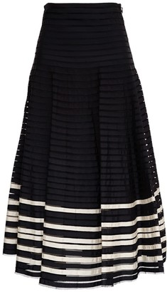 RED Valentino Point Desprit Tulle Long Skirt With Gros Grain Ribbons
