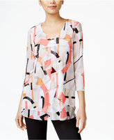 Alfani Petite Printed Layered-Look Top, Only at Macy's