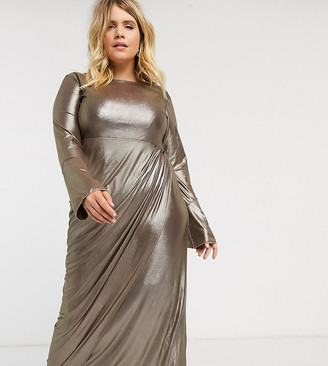 Verona Curve maxi dress with drape wrap front in silver glitter