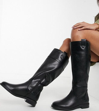 ASOS DESIGN Wide Fit Carrie flat riding knee boots