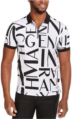 Armani Exchange Logo All-Over Half-Zip Polo Shirt