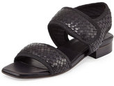 Sesto Meucci Gryta Woven Leather Flat Sandal, Black