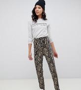 Asos Tall DESIGN Tall tiger print belted peg pants