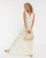 Asos Design DESIGN sleeveless tiered crinkle maxi dress with lace inserts in floral print