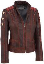 Black Rivet Womens Distressed Stars And Stripes Leather Jacket W/ Lacing Detail
