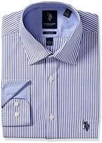 U.S. Polo Assn. Men's Stripe Slim Fit Semi Spread Collar Dress Shirt