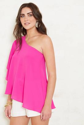 Abbeline Asymmetrical One Shoulder Flutter Sleeve Top Hot Pink XS
