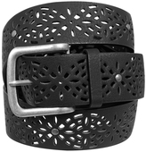 Yours Clothing Black Laser Cut Floral Belt With Silver Buckle