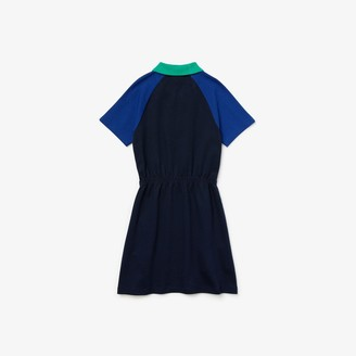 Lacoste Girls' Zippered Colorblock Cotton Polo Dress