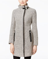 Calvin Klein Faux-Leather-Trim Boucle Walker Coat