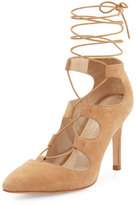 Loeffler Randall Leila Suede Lace-Up Pump, Almond