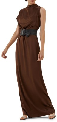 Brunello Cucinelli Asymmetric Belted Stretch-Silk Gown