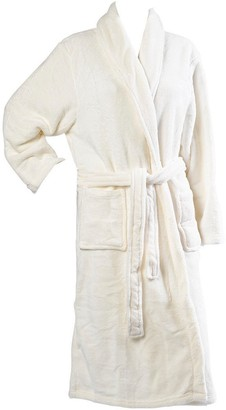 Slenderella Ladies Luxurious Soft Fleece Dressing Gown Wrap Around with Pockets Large (Cream)