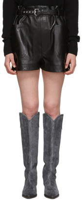 Isabel Marant Black Leather Xike Shorts