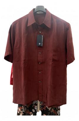 C.b. Made In Italy Burgundy Silk Shirts