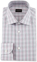 Ermenegildo Zegna Multicolor Soft Check Dress Shirt, Burgundy