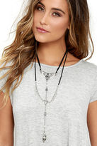 LuLu*s Artifact or Fiction Black and Silver Necklace