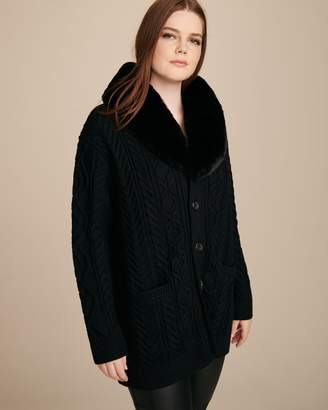 Marc Jacobs Long Sleeve V-Neck Cardigan with Faux Fur