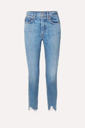 GRLFRND Karolina Distressed High-rise Skinny Jeans - Mid denim