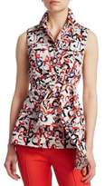 Akris Punto Letter-Print Sleeveless Wrap Blouse
