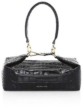REJINA PYO Olivia Croc-Embossed Leather Top Handle Bag