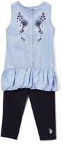 U.S. Polo Assn. Peacoat Embroidered Floral Tunic & Leggings - Infant Toddler & Girls