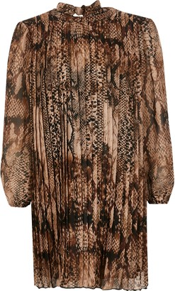 River Island Girls Brown snake printed pleated swing dress