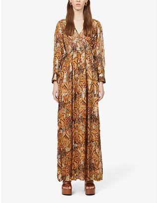 BA&SH Quartz metallic graphic-print woven maxi dress