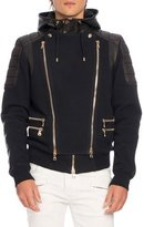 Balmain Leather-Paneled Biker Sweatshirt-Jacket, Black