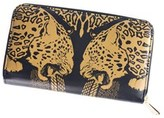 Roberto Cavalli Womens Black Gold Panther Leather Zip Around Wallet.