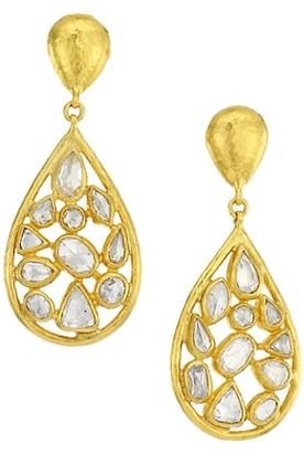 Gurhan Pointelle 24K Yellow Gold & Diamond Double-Drop Earrings