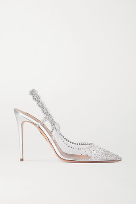 Aquazzura Heaven Crystal-embellished Pvc Slingback Pumps - Silver