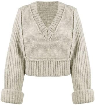 Jacquemus cropped oversized V-neck jumper