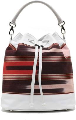 Kuz Calf Leather White Colored Bag With Handloomed Peshtemal Fabric