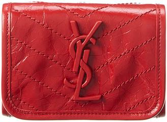 Saint Laurent Niki Crinkled Leather Wallet