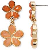 Liz Claiborne Orange Stone Gold-Tone Flower Double-Drop Earrings