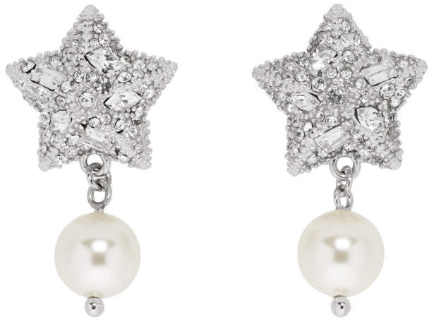 a09435caeadc3 Silver Pearl and Crystal Star Earrings