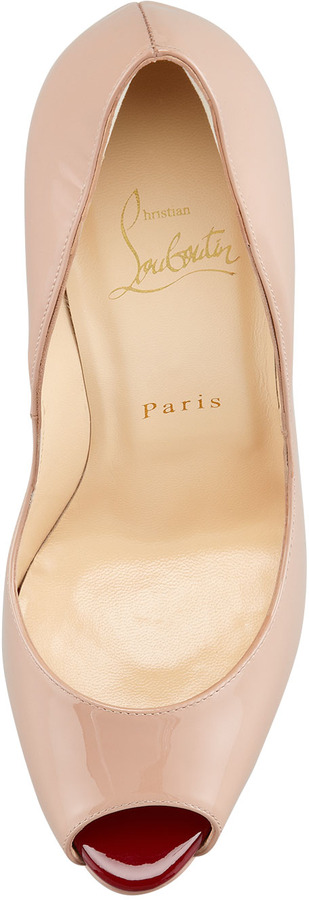 Christian Louboutin Babel Patent Peep-Toe Spikes Pump, Nude/Rouge