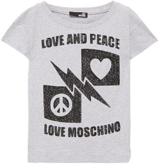 Love Moschino Embellished Melange Cotton-jersey T-shirt