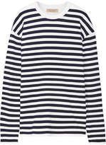 Burberry Oversized Striped Ribbed Merino Wool-blend Sweater - Storm blue