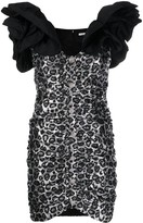 Alessandra Rich leopard print ruffled strap dress