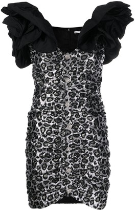 Alessandra Rich leopard print ruffled strap dress
