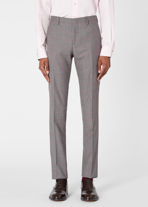 Paul Smith Men's Slim-Fit Light Blue And Taupe Check Wool Trousers