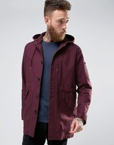 Asos Lightweight Fishtail Parka In Burgundy