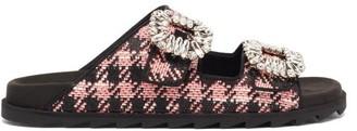 Roger Vivier Slidy Crystal-buckle Tweed Slides - Pink