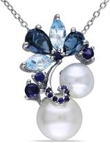 Ice Michiko 2 3/4 CT TW Blue Topaz, Sapphire and White Freshwater Pearl Silver Necklace